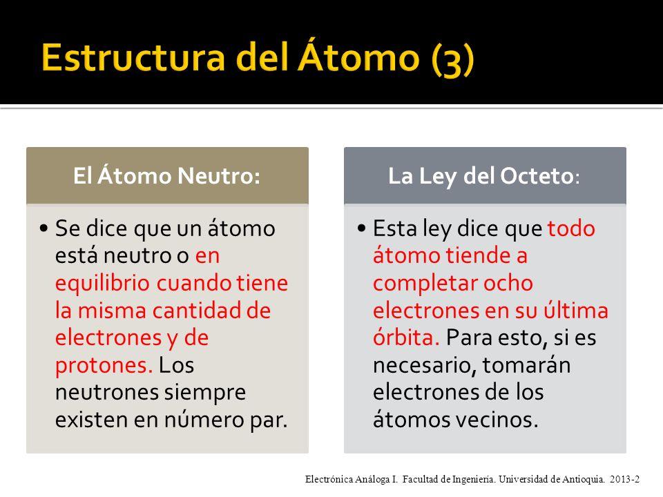 El Átomo Neutro: Se dice que un átomo está neutro o en equilibrio cuando tiene la misma cantidad de electrones y de protones.