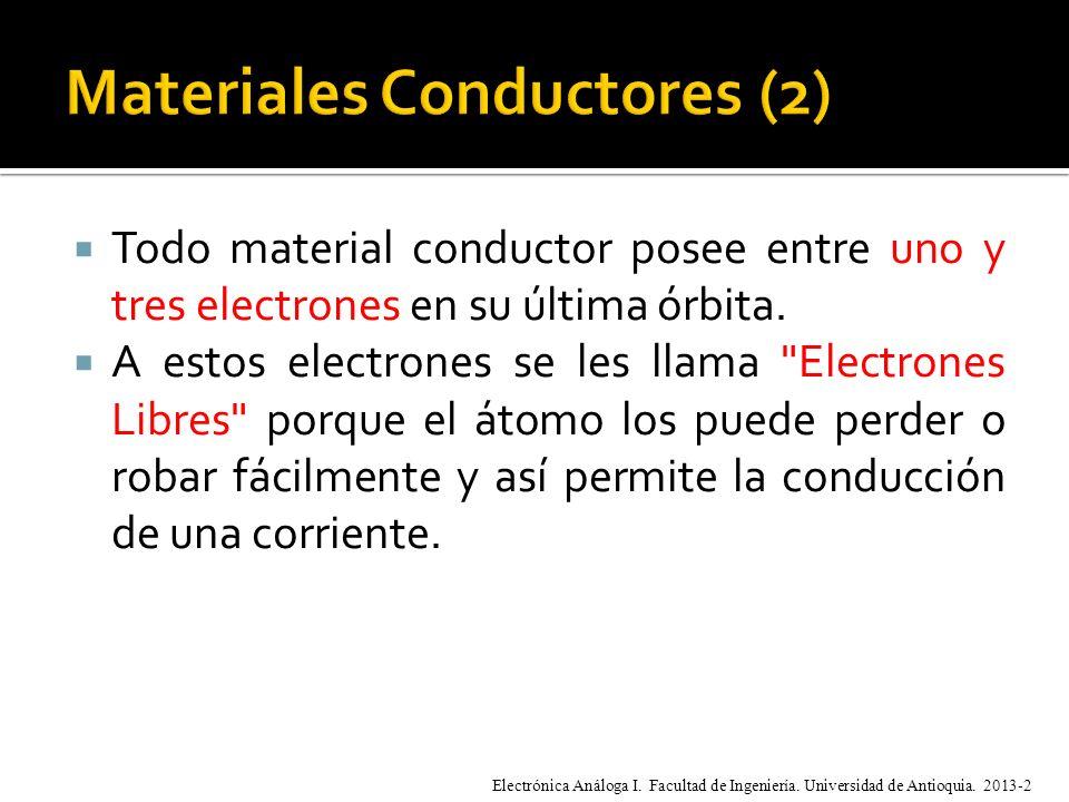Todo material conductor posee entre uno y tres electrones en su última órbita.
