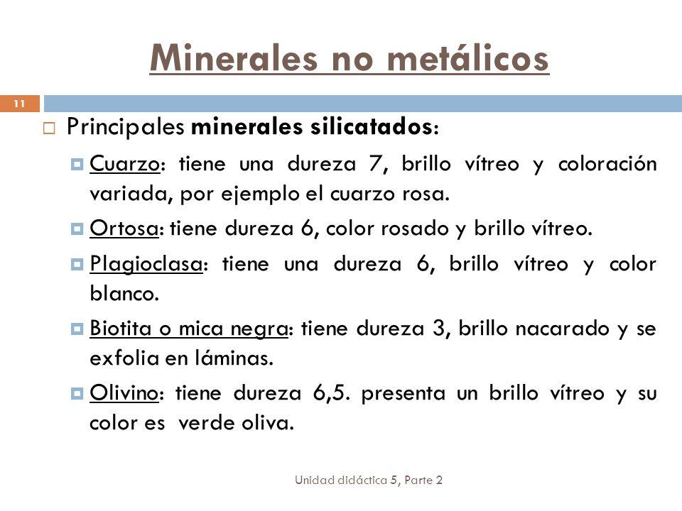 Unidad didáctica 5, Parte 2 11 Principales minerales silicatados: Cuarzo: tiene una dureza 7, brillo vítreo y coloración variada, por ejemplo el cuarzo rosa.