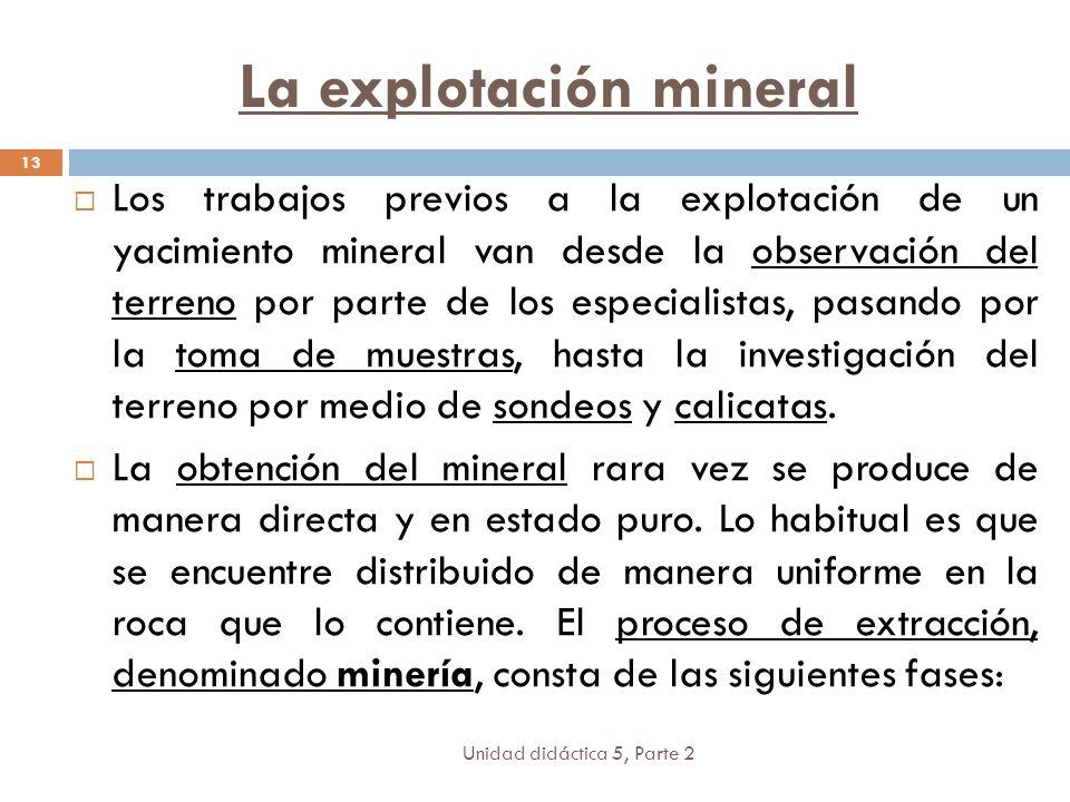 La explotación mineral Unidad didáctica 5, Parte 2 13 Los trabajos previos a la explotación de un yacimiento mineral van desde la observación del terreno por parte de los especialistas, pasando por la toma de muestras, hasta la investigación del terreno por medio de sondeos y calicatas.