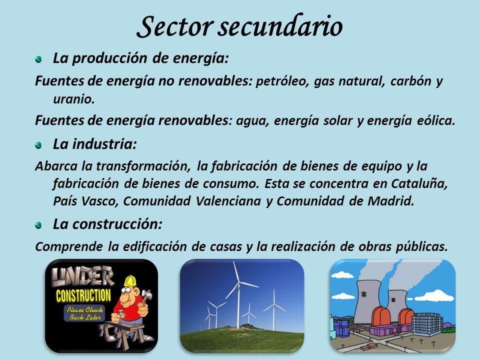 Sector secundario La producción de energía: Fuentes de energía no renovables: petróleo, gas natural, carbón y uranio. Fuentes de energía renovables :