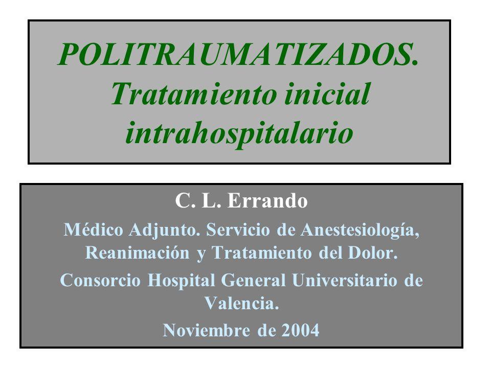 Politraumatismo 1ª causa de muerte en las cuatro primeras décadas Factores que determinan el resultado: Gravedad de las lesiones Intervalo traumatismo-cuidados definitivos