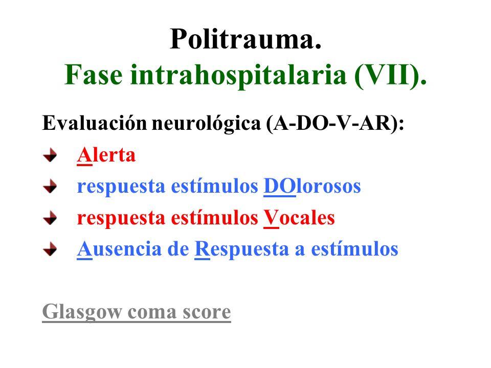 Politrauma. Fase intrahospitalaria (VII). Evaluación neurológica (A-DO-V-AR): Alerta respuesta estímulos DOlorosos respuesta estímulos Vocales Ausenci