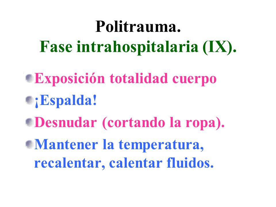 Politrauma. Fase intrahospitalaria (IX). Exposición totalidad cuerpo ¡Espalda! Desnudar (cortando la ropa). Mantener la temperatura, recalentar, calen