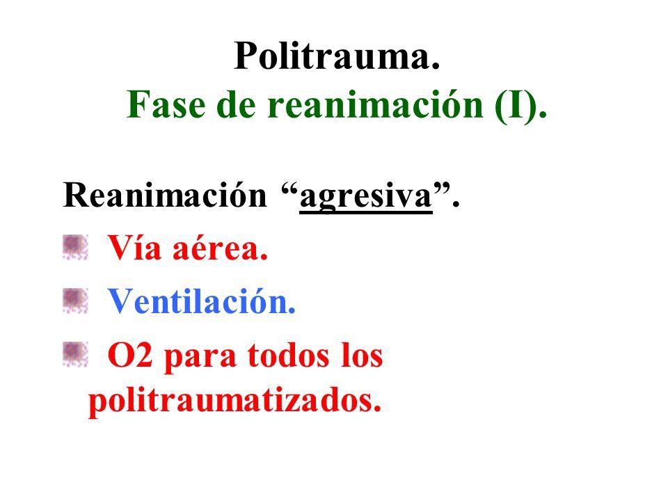 Politrauma. Fase de reanimación (I). Reanimación agresiva. Vía aérea. Ventilación. O2 para todos los politraumatizados.