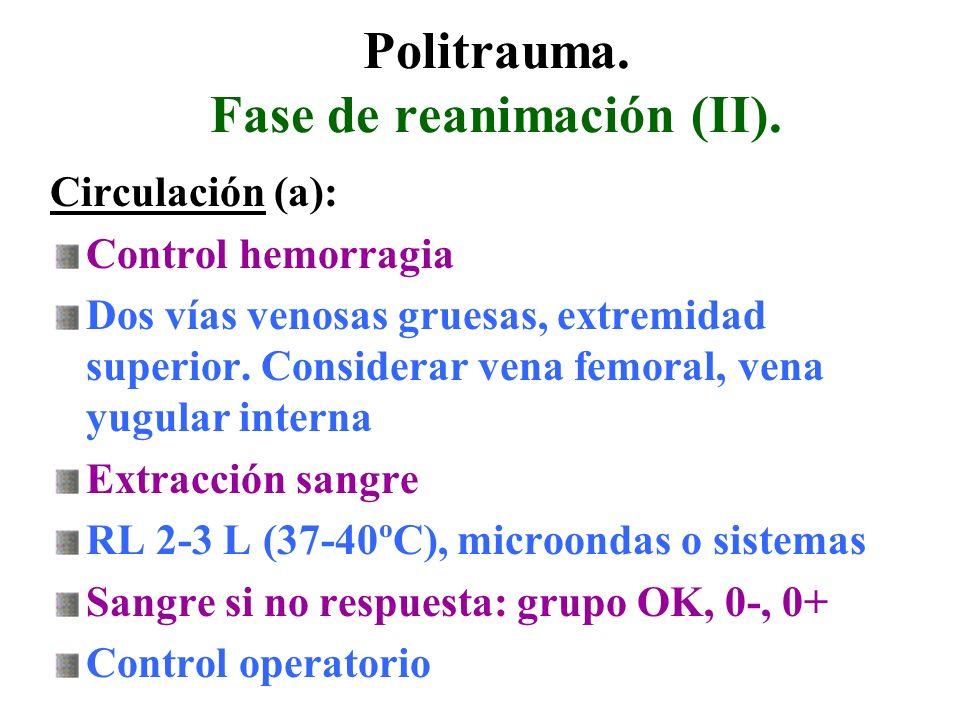 Politrauma. Fase de reanimación (II). Circulación (a): Control hemorragia Dos vías venosas gruesas, extremidad superior. Considerar vena femoral, vena