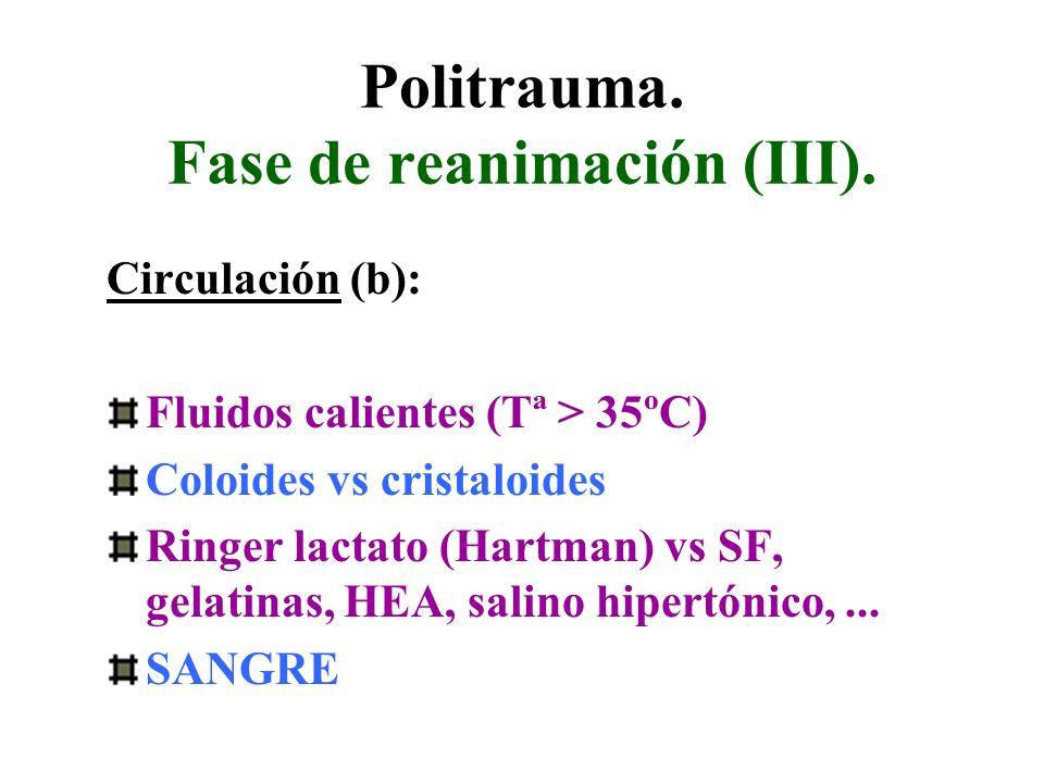 Politrauma. Fase de reanimación (III). Circulación (b): Fluidos calientes (Tª > 35ºC) Coloides vs cristaloides Ringer lactato (Hartman) vs SF, gelatin