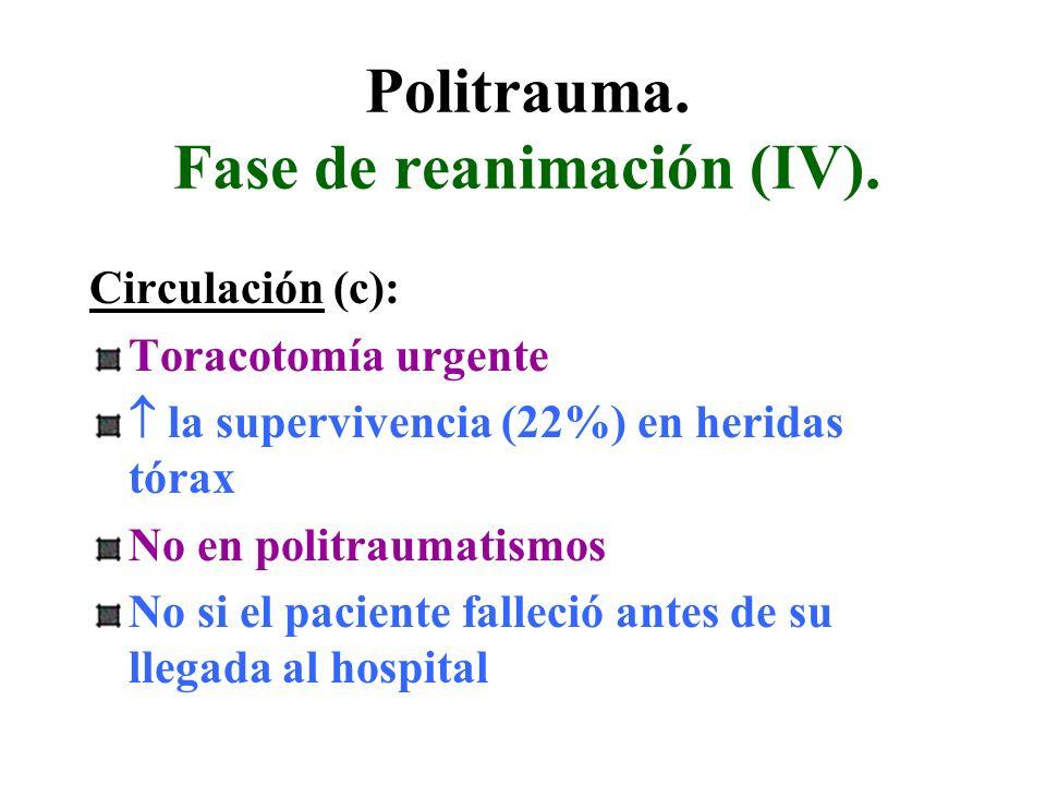 Politrauma. Fase de reanimación (IV). Circulación (c): Toracotomía urgente la supervivencia (22%) en heridas tórax No en politraumatismos No si el pac