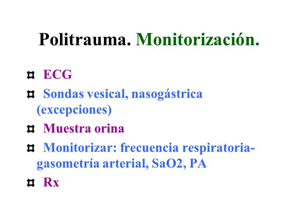 Politrauma. Monitorización. ECG Sondas vesical, nasogástrica (excepciones) Muestra orina Monitorizar: frecuencia respiratoria- gasometría arterial, Sa