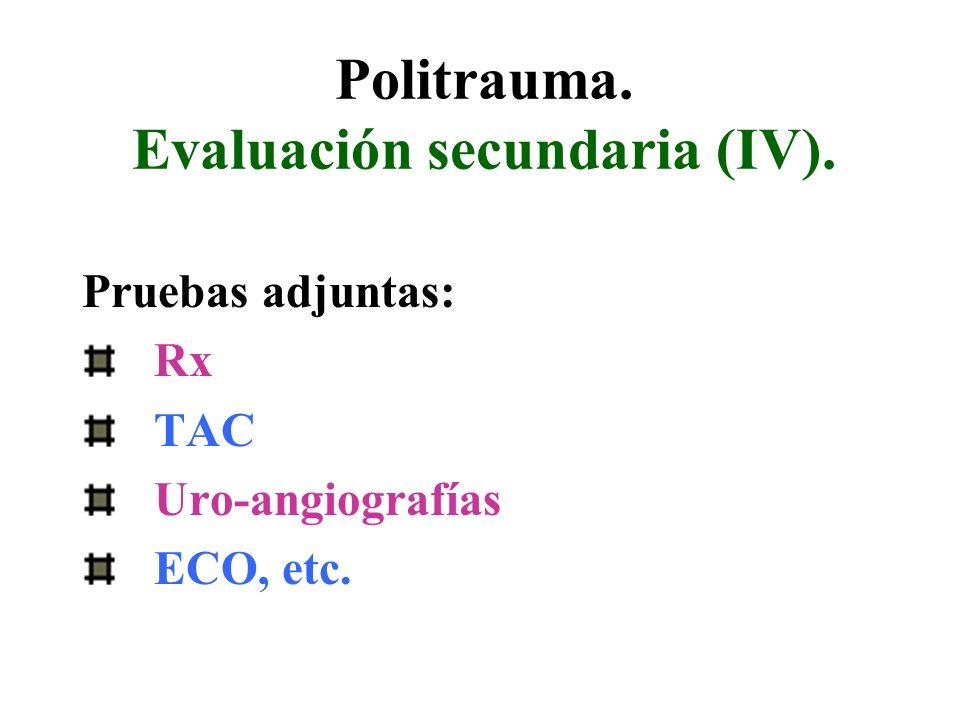 Politrauma. Evaluación secundaria (IV). Pruebas adjuntas: Rx TAC Uro-angiografías ECO, etc.