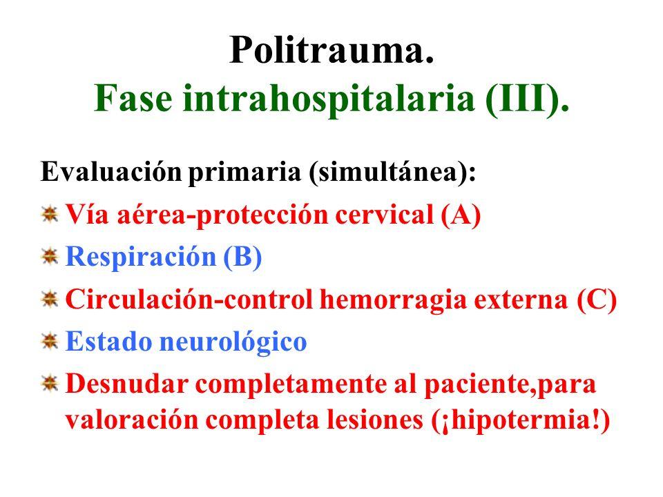 Politrauma. Fase intrahospitalaria (III). Evaluación primaria (simultánea): Vía aérea-protección cervical (A) Respiración (B) Circulación-control hemo