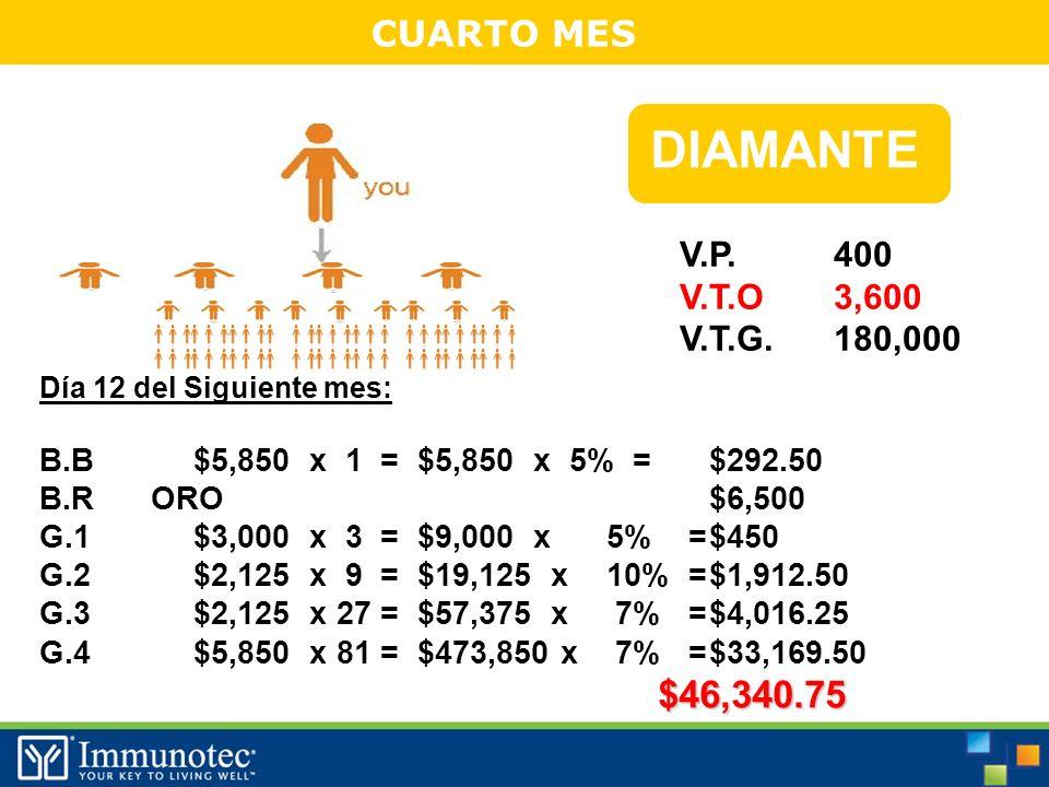 CUARTO MES Día 12 del Siguiente mes: B.B$5,850 x 1 = $5,850 x 5% =$292.50 B.R ORO$6,500 G.1$3,000 x 3 = $9,000 x 5% =$450 G.2$2,125 x 9 = $19,125 x 10% =$1,912.50 G.3$2,125 x 27 = $57,375 x 7% =$4,016.25 G.4$5,850 x 81 = $473,850 x 7% =$33,169.50$46,340.75 DIAMANTE $ V.P.
