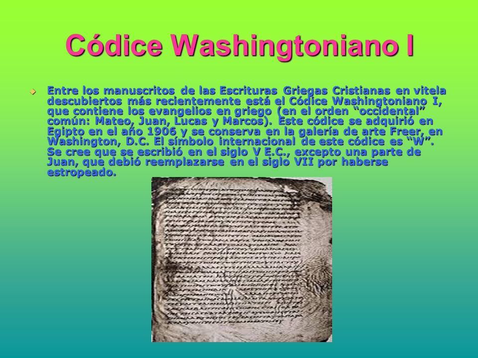 Códice Washingtoniano II El Códice Washingtoniano II, cuyo símbolo es I, también de la colección Freer, contiene porciones de las cartas canónicas de Pablo, entre las que se encuentra la carta a los Hebreos.