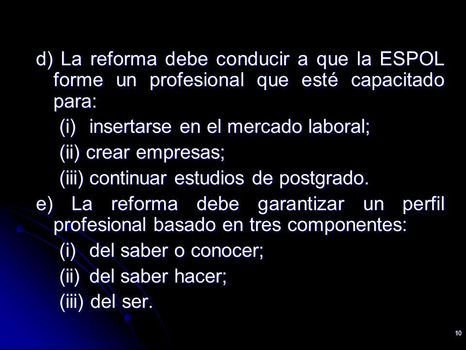 10 d) La reforma debe conducir a que la ESPOL forme un profesional que esté capacitado para: (i) insertarse en el mercado laboral; (ii) crear empresas