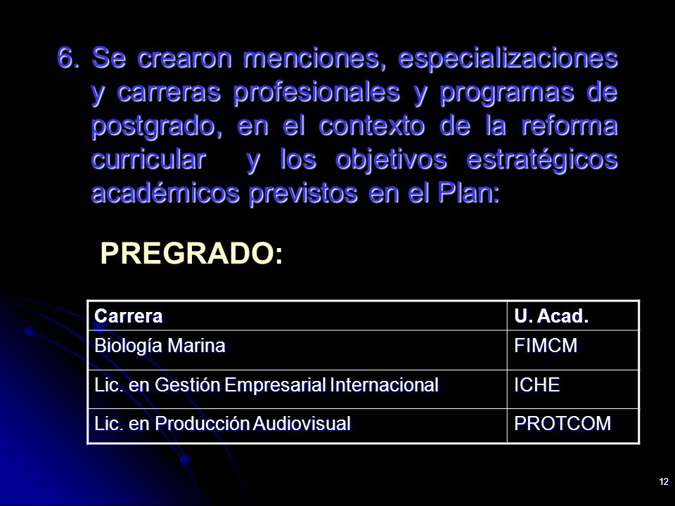 12 6. Se crearon menciones, especializaciones y carreras profesionales y programas de postgrado, en el contexto de la reforma curricular y los objetiv
