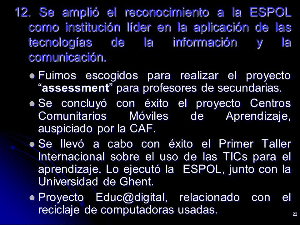 22 12. Se amplió el reconocimiento a la ESPOL como institución líder en la aplicación de las tecnologías de la información y la comunicación. Fuimos e