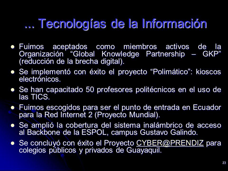 23... Tecnologías de la Información Fuimos aceptados como miembros activos de la Organización Global Knowledge Partnership – GKP (reducción de la brec