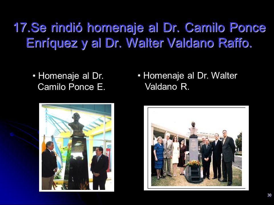 30 Homenaje al Dr. Camilo Ponce E. Homenaje al Dr. Walter Valdano R. 17.Se rindió homenaje al Dr. Camilo Ponce Enríquez y al Dr. Walter Valdano Raffo.
