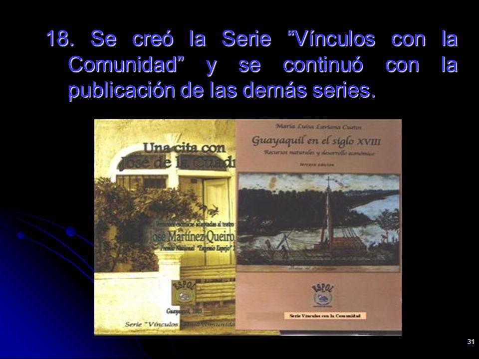 31 18. Se creó la Serie Vínculos con la Comunidad y se continuó con la publicación de las demás series.