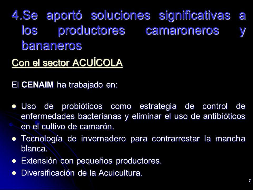 7 4.Se aportó soluciones significativas a los productores camaroneros y bananeros Con el sector ACUÍCOLA El CENAIM ha trabajado en: Uso de probióticos