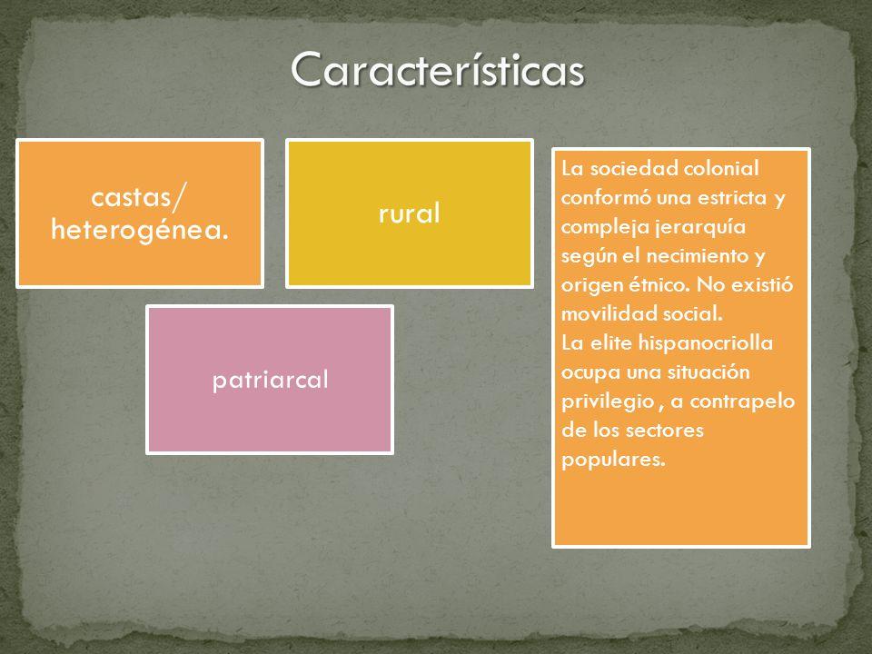 castas/ heterogénea. rural patriarcal La sociedad colonial conformó una estricta y compleja jerarquía según el necimiento y origen étnico. No existió