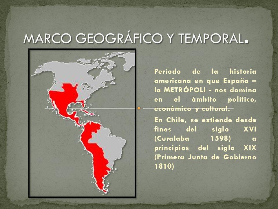 o Período de la historia americana en que España – la METRÓPOLI - nos domina en el ámbito político, económico y cultural. o En Chile, se extiende desd