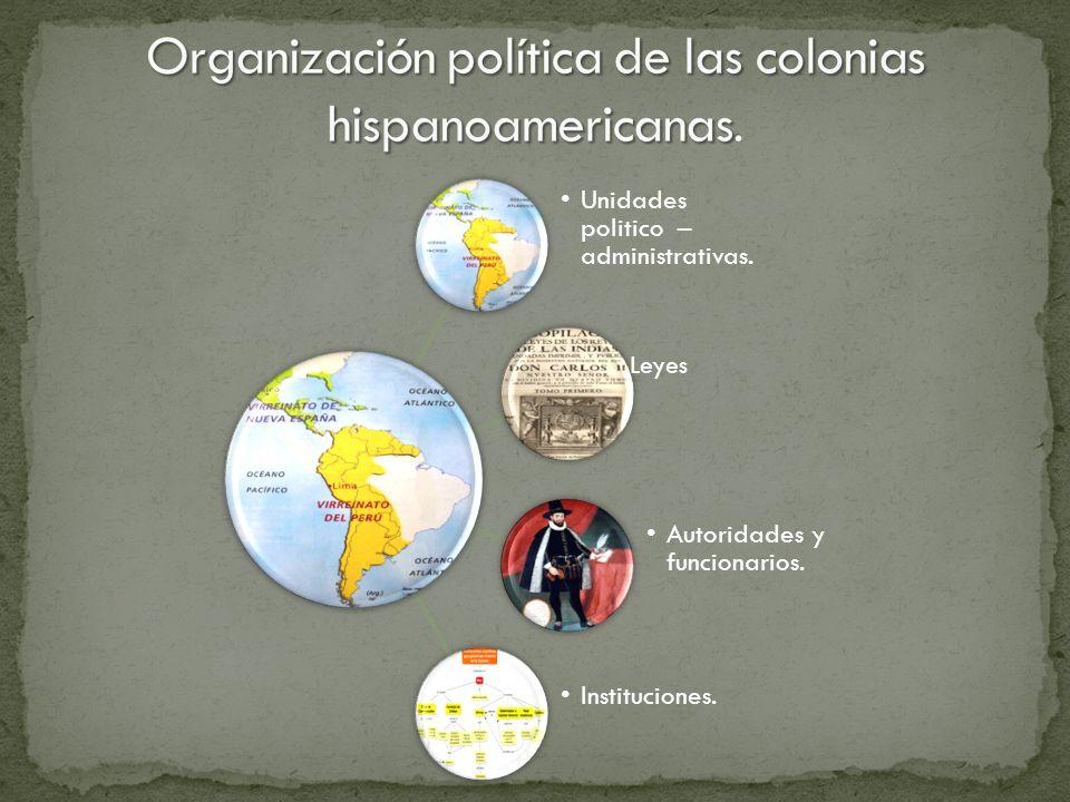 Unidades politico – administrativas. Autoridades y funcionarios. Instituciones. Leyes
