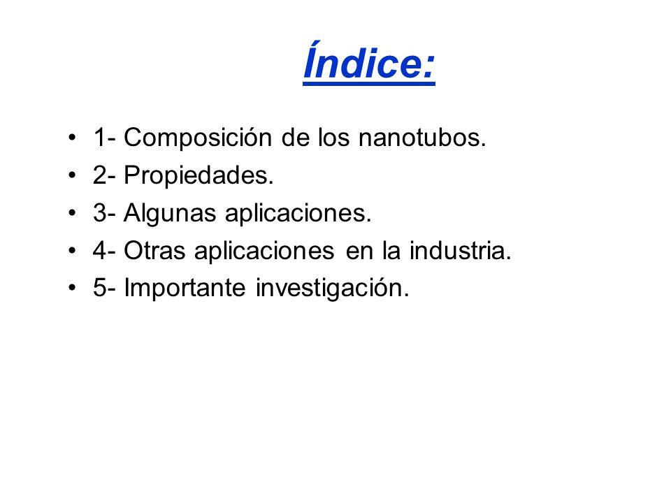 Índice: 1- Composición de los nanotubos. 2- Propiedades. 3- Algunas aplicaciones. 4- Otras aplicaciones en la industria. 5- Importante investigación.