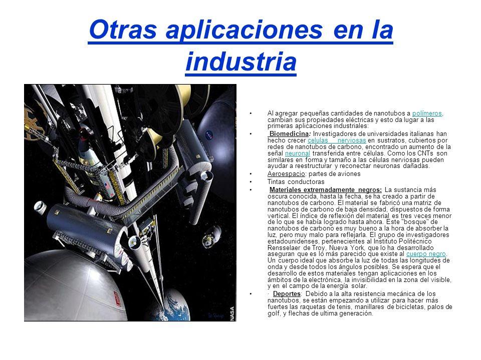 Otras aplicaciones en la industria Al agregar pequeñas cantidades de nanotubos a polímeros, cambian sus propiedades eléctricas y esto da lugar a las p