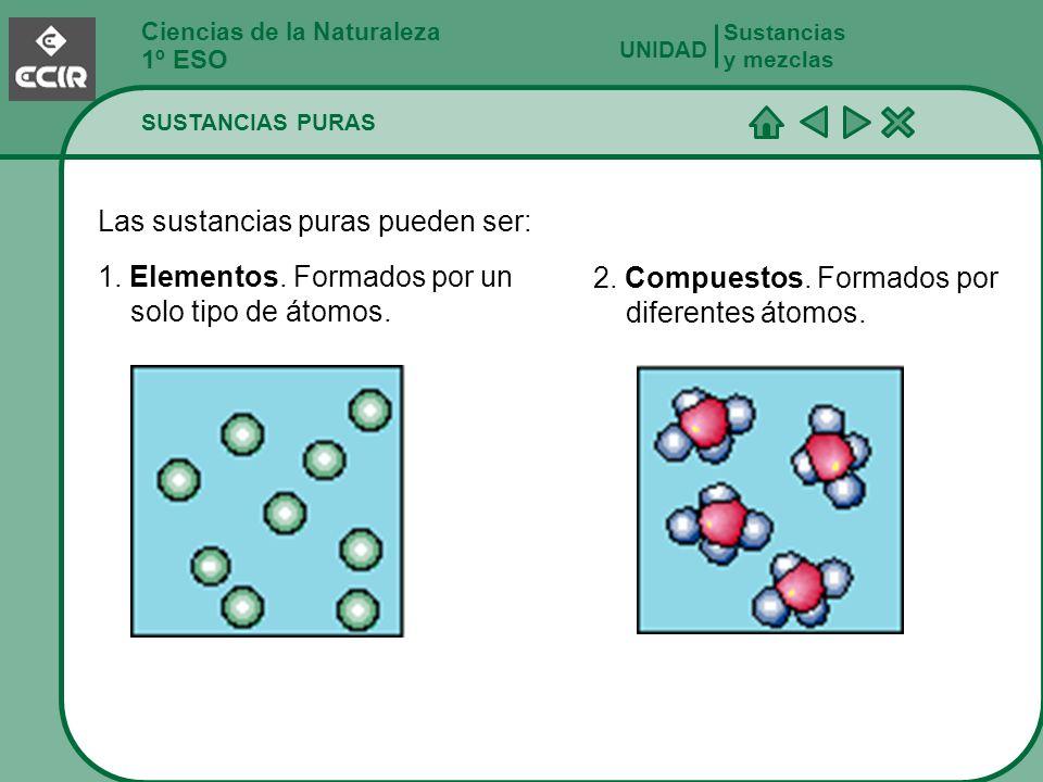 Ciencias de la Naturaleza 1º ESO SUSTANCIAS PURAS Sustancias y mezclas UNIDAD Las sustancias puras pueden ser: 1. Elementos. Formados por un solo tipo