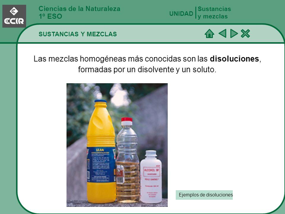 Ciencias de la Naturaleza 1º ESO SUSTANCIAS Y MEZCLAS Sustancias y mezclas UNIDAD Las mezclas homogéneas más conocidas son las disoluciones, formadas