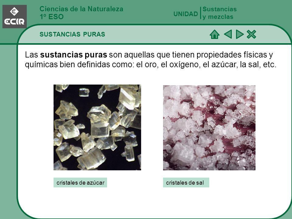 Ciencias de la Naturaleza 1º ESO SUSTANCIAS PURAS Sustancias y mezclas UNIDAD Las sustancias puras son aquellas que tienen propiedades físicas y quími