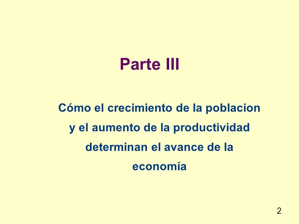 Parte III Cómo el crecimiento de la poblacion y el aumento de la productividad determinan el avance de la economía 2