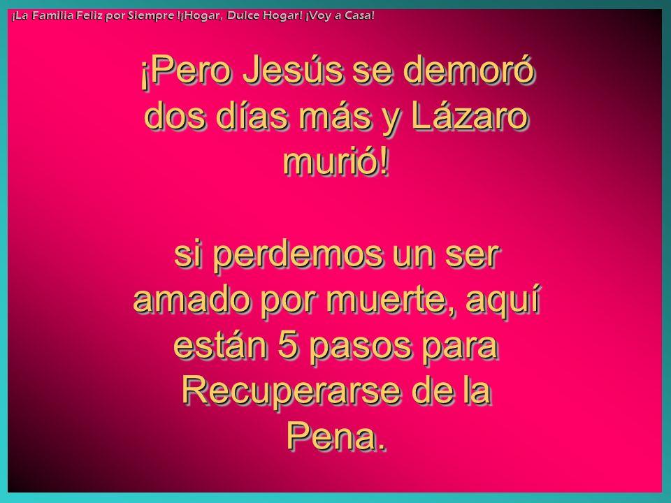 ¡Pero Jesús se demoró dos días más y Lázaro murió! si perdemos un ser amado por muerte, aquí están 5 pasos para Recuperarse de la Pena. ¡Pero Jesús se