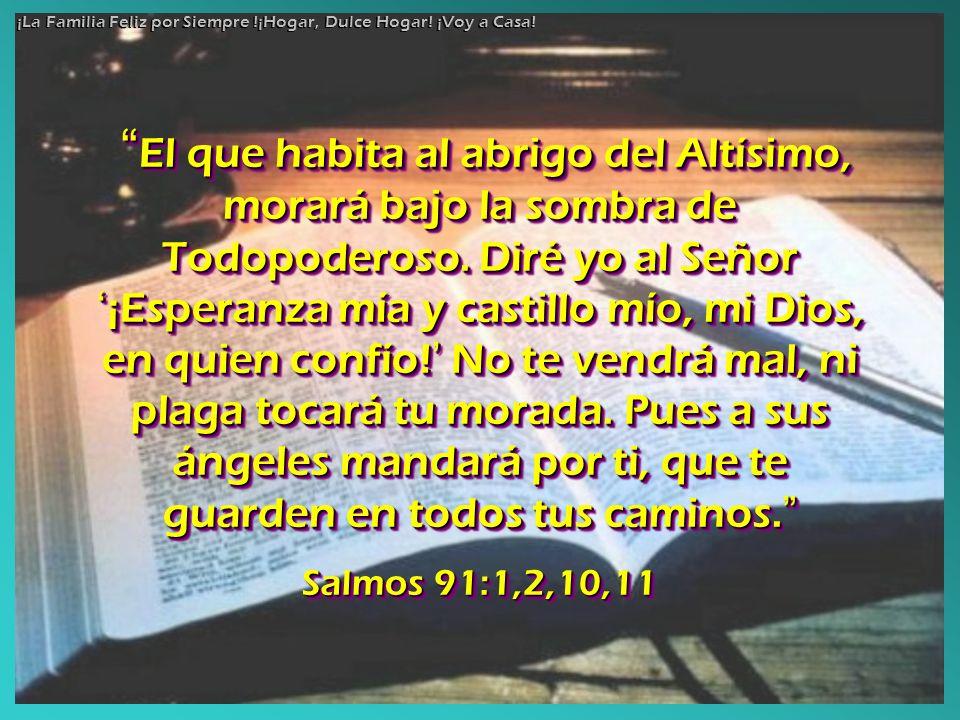 El que habita al abrigo del Altísimo, morará bajo la sombra de Todopoderoso. Diré yo al Señor ¡Esperanza mía y castillo mío, mi Dios, en quien confío!