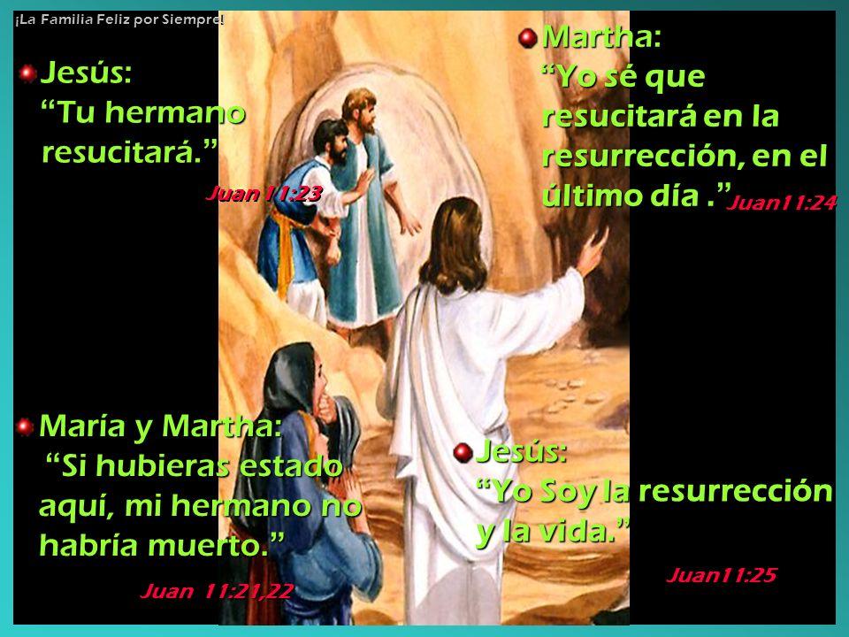 Jesús: Tu hermano resucitará. Tu hermano resucitará. Martha: Yo sé que resucitará en la resurrección, en el último día. Yo sé que resucitará en la res