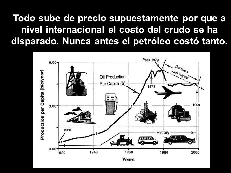 Todo sube de precio supuestamente por que a nivel internacional el costo del crudo se ha disparado. Nunca antes el petróleo costó tanto.