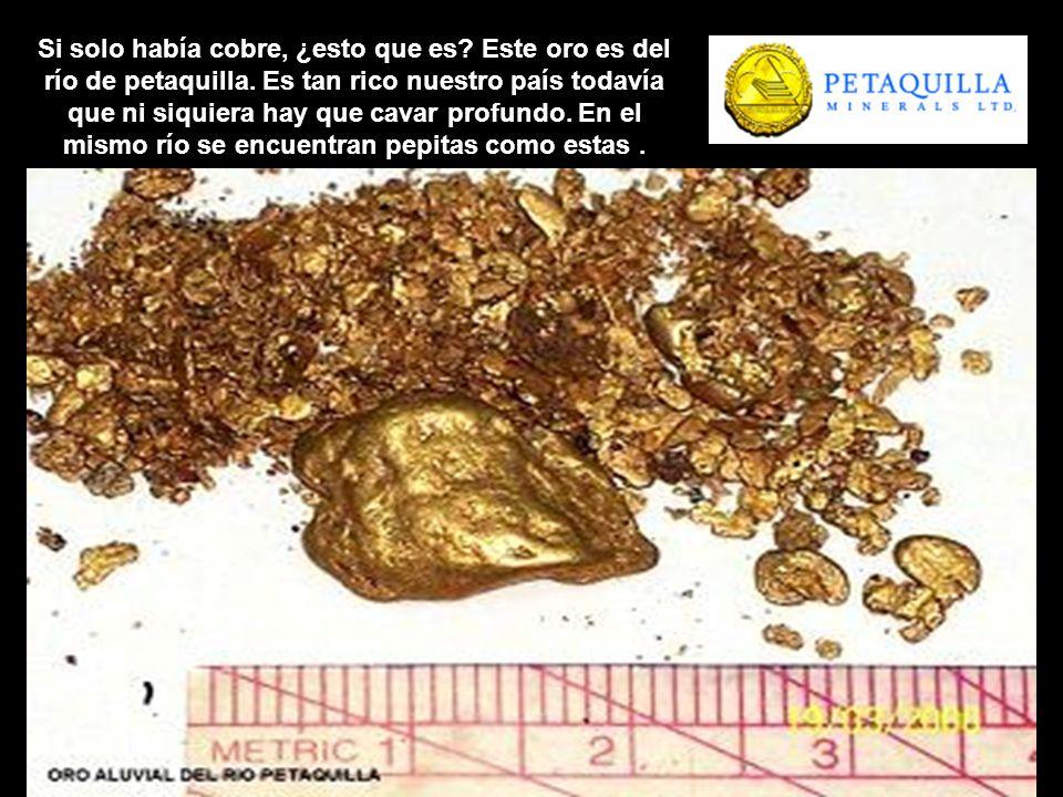 Si solo había cobre, ¿esto que es? Este oro es del río de petaquilla. Es tan rico nuestro país todavía que ni siquiera hay que cavar profundo. En el m