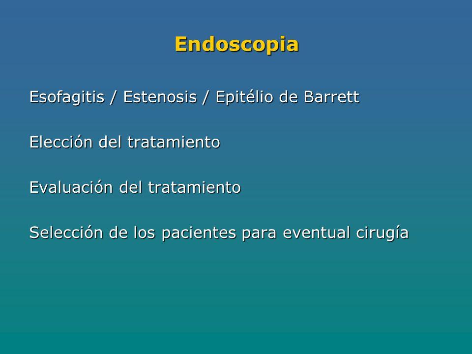 Endoscopia Esofagitis / Estenosis / Epitélio de Barrett Elección del tratamiento Evaluación del tratamiento Selección de los pacientes para eventual cirugía
