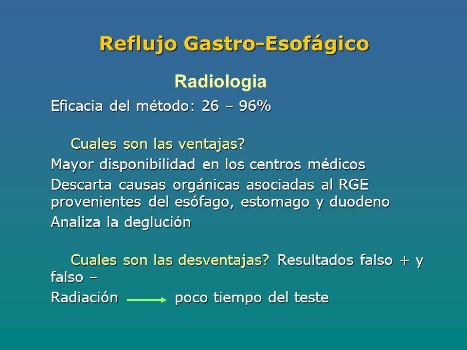 Reflujo Gastro-Esofágico Eficacia del método: 26 – 96% Cuales son las ventajas.