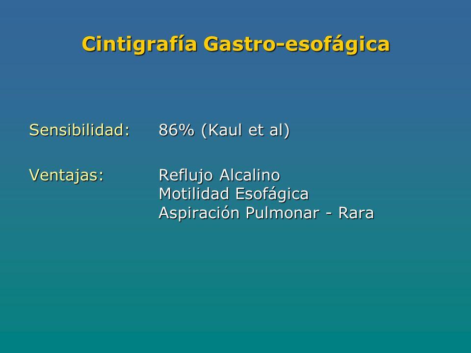 Cintigrafía Gastro-esofágica Sensibilidad:86% (Kaul et al) Ventajas:Reflujo Alcalino Motilidad Esofágica Aspiración Pulmonar - Rara