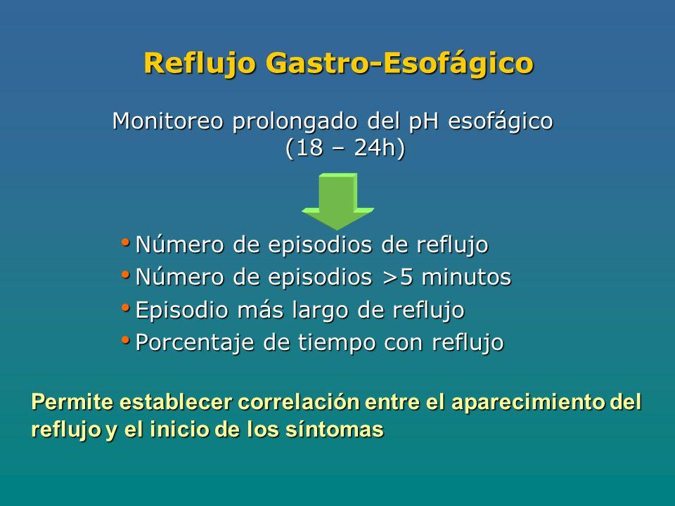 Reflujo Gastro-Esofágico Monitoreo prolongado del pH esofágico (18 – 24h) Número de episodios de reflujo Número de episodios de reflujo Número de episodios >5 minutos Número de episodios >5 minutos Episodio más largo de reflujo Episodio más largo de reflujo Porcentaje de tiempo con reflujo Porcentaje de tiempo con reflujo Permite establecer correlación entre el aparecimiento del reflujo y el inicio de los síntomas