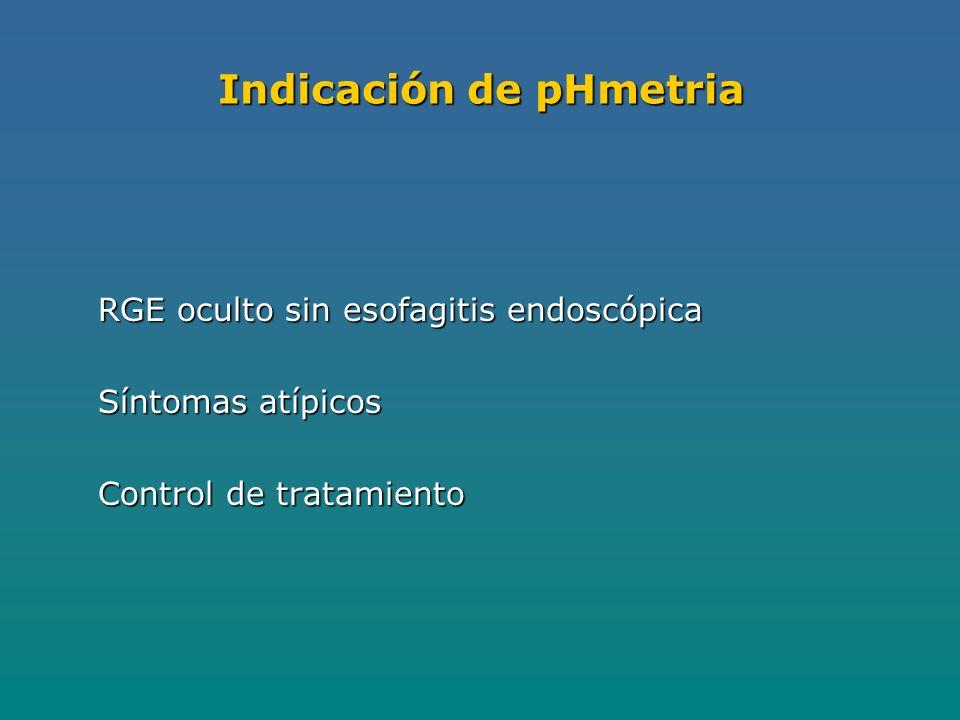 Indicación de pHmetria RGE oculto sin esofagitis endoscópica Síntomas atípicos Control de tratamiento