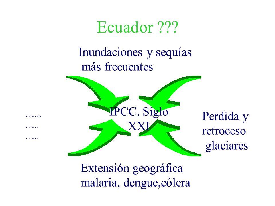 Ecuador ??? Inundaciones y sequías más frecuentes Extensión geográfica malaria, dengue,cólera Perdida y retroceso glaciares …... ….. IPCC. Siglo XXI