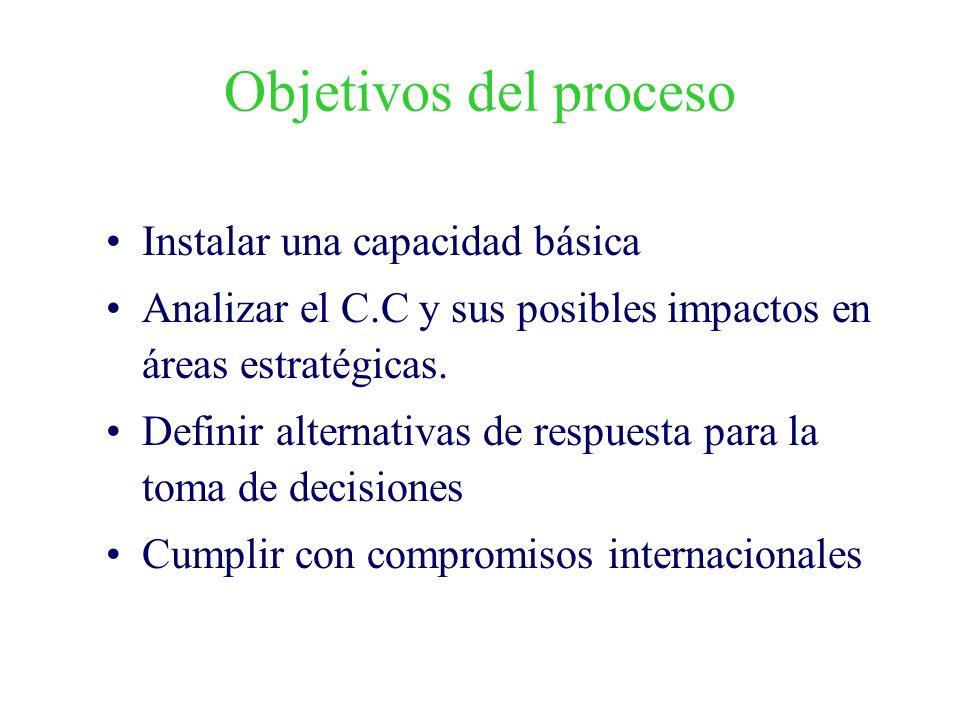 Objetivos del proceso Instalar una capacidad básica Analizar el C.C y sus posibles impactos en áreas estratégicas. Definir alternativas de respuesta p