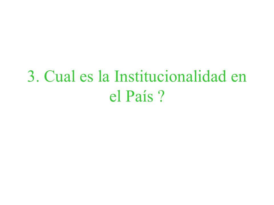 3. Cual es la Institucionalidad en el País ?