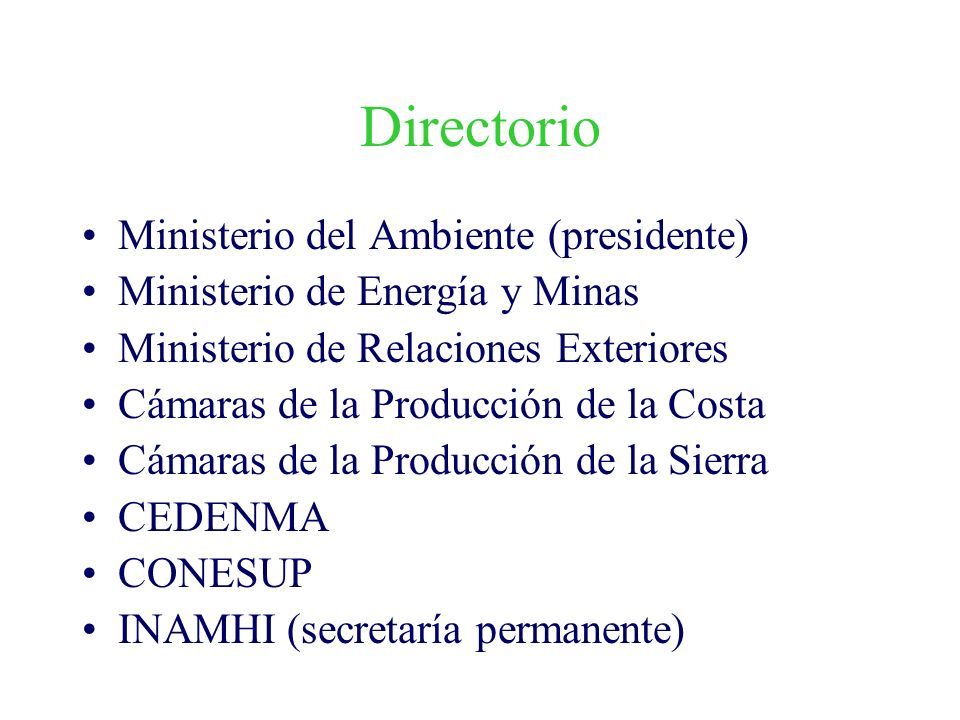 Directorio Ministerio del Ambiente (presidente) Ministerio de Energía y Minas Ministerio de Relaciones Exteriores Cámaras de la Producción de la Costa