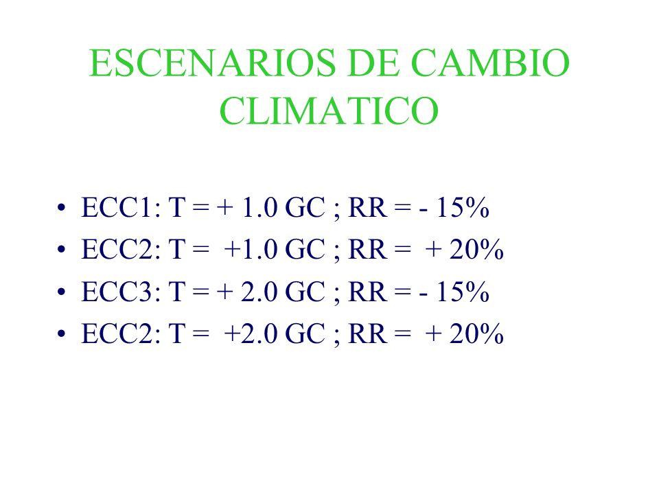 ESCENARIOS DE CAMBIO CLIMATICO ECC1: T = + 1.0 GC ; RR = - 15% ECC2: T = +1.0 GC ; RR = + 20% ECC3: T = + 2.0 GC ; RR = - 15% ECC2: T = +2.0 GC ; RR =