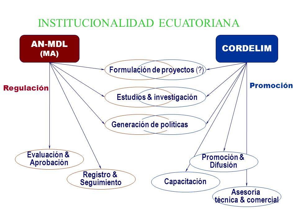 Formulación de proyectos (?) Estudios & investigación Generación de políticas AN-MDL (MA) CORDELIM Evaluación & Aprobación Registro & Seguimiento Regu
