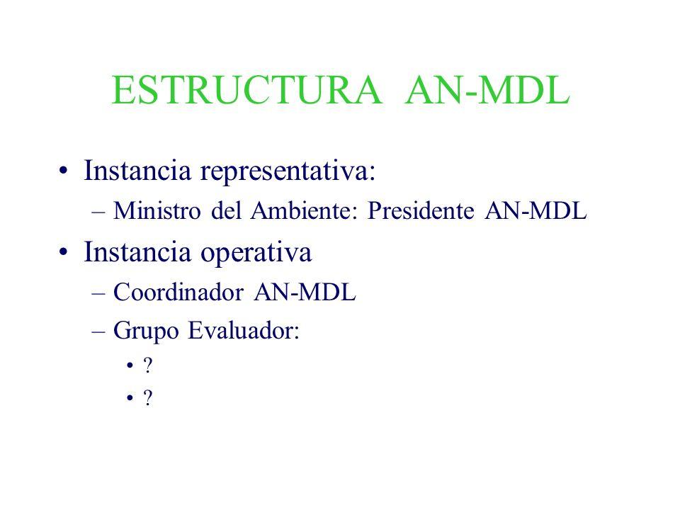 ESTRUCTURA AN-MDL Instancia representativa: –Ministro del Ambiente: Presidente AN-MDL Instancia operativa –Coordinador AN-MDL –Grupo Evaluador: ?